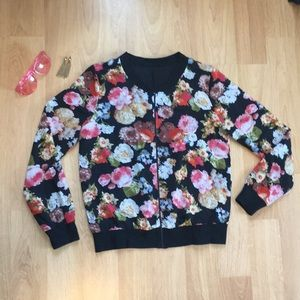 Jackets & Blazers - Light Silky Floral Bomber